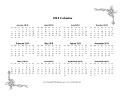 2018 One Page Calendar With Flowers calendar