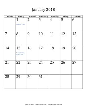 photo relating to Vertical Calendar Printable identified as Printable January 2018 Calendar (vertical)