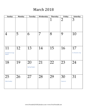 graphic about March Calendar Printable referred to as Printable March 2018 Calendar (vertical)