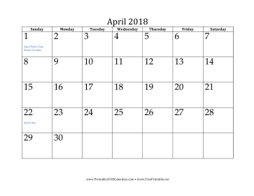graphic relating to April Printable named Printable April 2018 Calendar