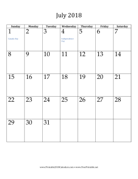 printable july 2018 calendar vertical