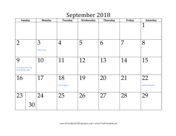 graphic regarding Printable September Calendar known as Printable September 2018 Calendar