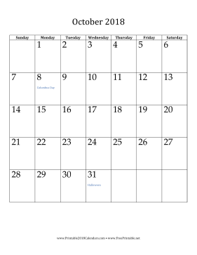 picture about Free Printable October Calendars named Printable Oct 2018 Calendar (vertical)