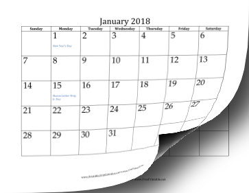 printable 2018 calendar 12 pages