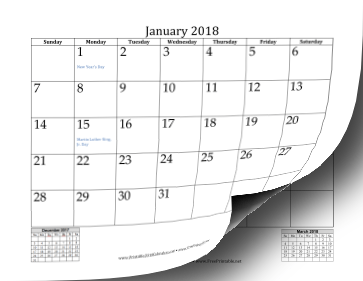 printable 2018 mini month calendar