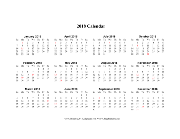 2018 Calendar (horizontal descending holidays in red) Calendar