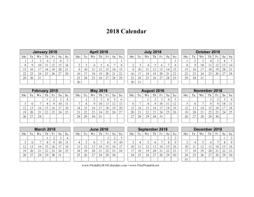 2018 Calendar on one page (horizontal week starts on Monday) Calendar