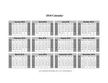 2018 Calendar on one page (horizontal shaded weekends) Calendar