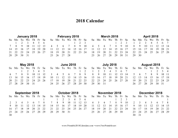 Printable 2018 Calendar one page with Large Print