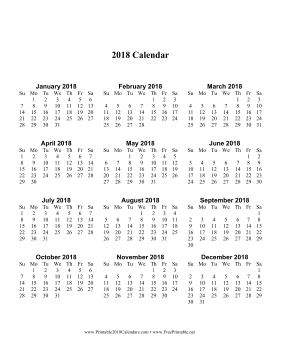 Printable 2018 Calendar One Page With Large Print Vertical