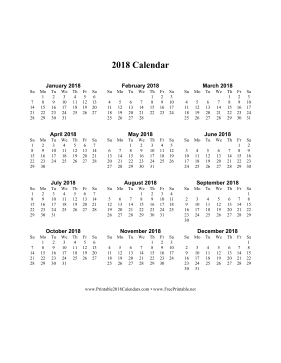 2018 Calendar on one page (vertical) Calendar