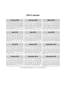 printable 2018 calendar on one page vertical grid