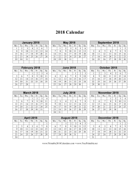 2018 Calendar on one page (vertical week starts on Monday) Calendar