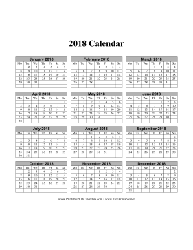 printable 2018 calendar on one page vertical months run across page week starts on monday