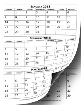 graphic relating to Printable 3 Month Calendar named Printable 2018 Calendar A few Weeks For each Web page