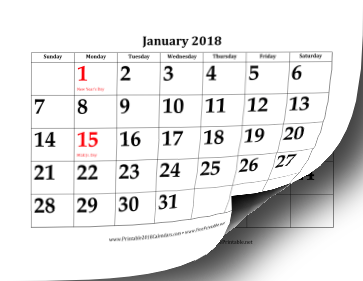 picture relating to Printable Dates called Printable 2018 Calendar with Higher Dates