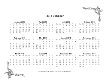 printable 2018 one page calendar with flowers