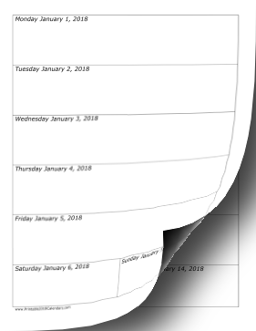 printable 2018 weekly calendar vertical