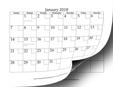 2018 Calendar with Checkboxes Calendar