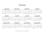 2018 Calendar one page with Large Print calendar
